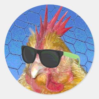 Punk Chicken Round Sticker