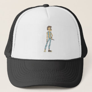 Punk Dangerous Criminal Outlined Comics Style Trucker Hat