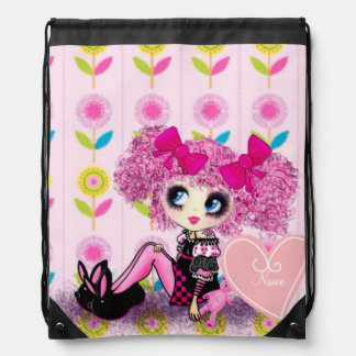 Punk Harajuku girl so kawaii cute and girly Drawstring Bag