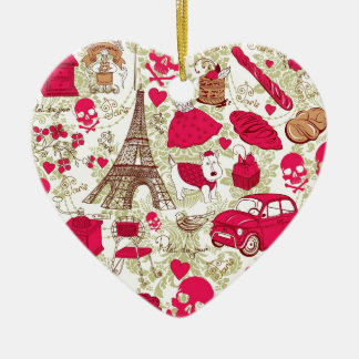 Punk In Paris Quirky French Icons pattern Ceramic Heart Decoration