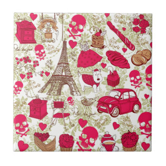 Punk In Paris Quirky French Icons pattern Ceramic Tile