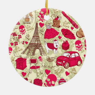 Punk In Paris Quirky French Icons pattern Round Ceramic Decoration