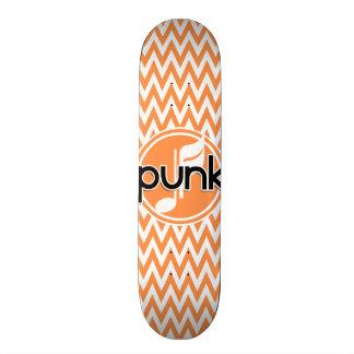 Punk Orange and White Chevron Skate Board Deck
