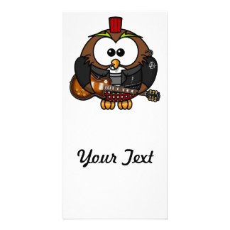 Punk Owl With Guitar Personalized Photo Card