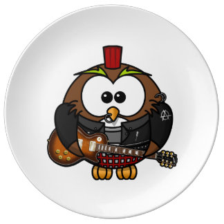 Punk Owl With Guitar Porcelain Plates
