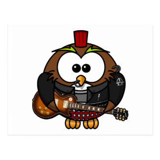 Punk Owl With Guitar Postcard