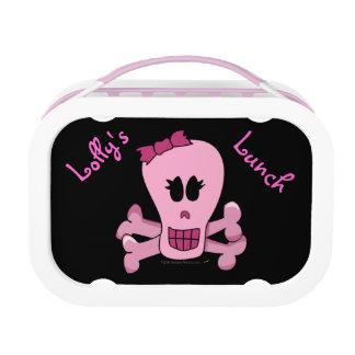 Punk Pink Pirate Skull Personalized Girls Lunchbox