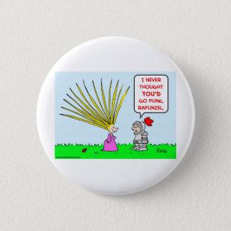 punk rapunzel hair 6 cm round badge