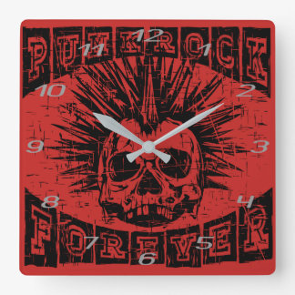punk rock forever square wall clock