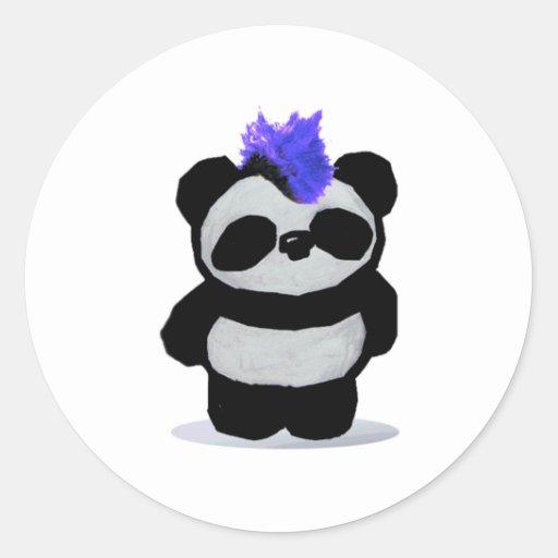 Punk Rock Panda Round Stickers