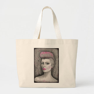 punk rock pink haired girl jumbo tote bag