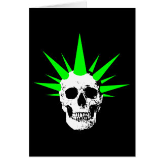 Punk Rock Skull with Neon Green Spikey Hair Card