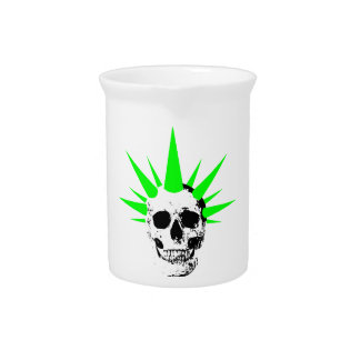 Punk Rock Skull with Neon Green Spikey Hair Pitcher