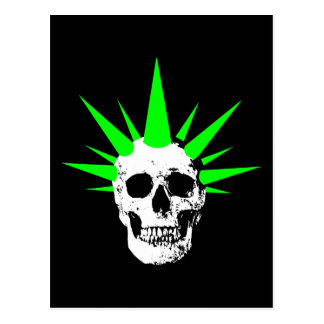 Punk Rock Skull with Neon Green Spikey Hair Postcard