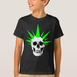 Punk Rock Skull with Neon Green Spikey Hair T-Shirt