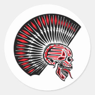 Punk Rocker Skull Tattoo Classic Round Sticker