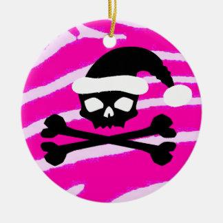 Punk Santa Skull Ceramic Ornament