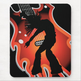 Punk Singer & Dancer Silhouette On Flame Guitar Mouse Pad
