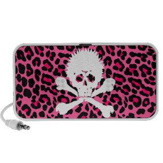 Punk Skull Pink Leopard Print doodle speakers