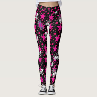 Punk Skulls and Candy Pattern on Pink Stars Leggings