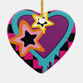 punk stars and hearts blue pink purple 3 ceramic ornament