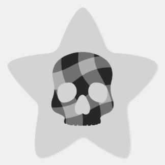 Punk twisted gingham skull star star sticker