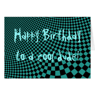 Punk warped retro checkerboard Happy Birthday dude Card