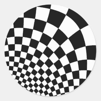 Punk warped retro checkerboard in black and white classic round sticker