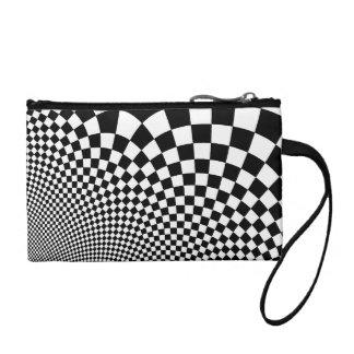 Punk warped retro checkerboard in black and white coin purse