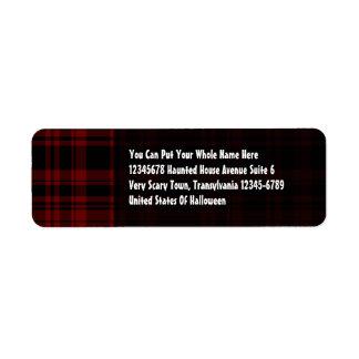 Punky Plaid Blood Red Return Address Label
