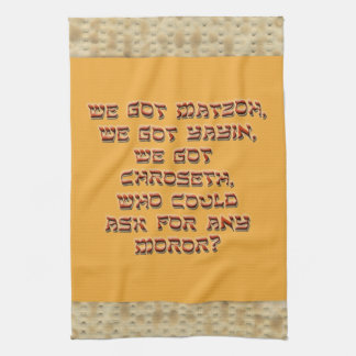 Punny Passover Kitchen Towel with Matzoh Border