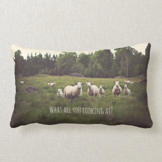 Punny White Sheep & lambs in lush green pasture Lumbar Cushion