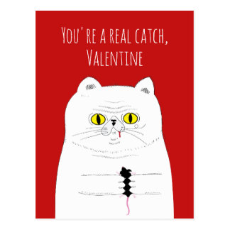 Punny You're A Catch Cat With Mouse Postcard