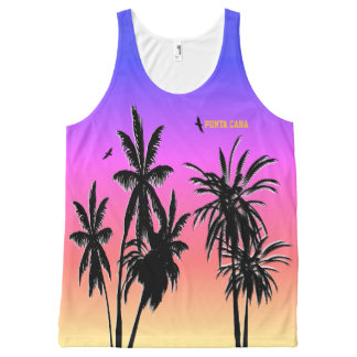 Punta Cana Sunset Customize Purple Fade Palm Trees All-Over Print Singlet