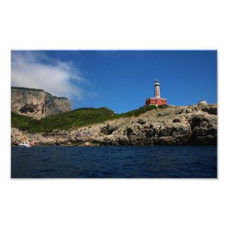 Punta Carena Lighthouse in Capri, Italy Photo Print