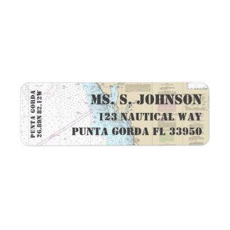 Punta Gorda FL Home Port Nautical Navigation Chart Return Address Label