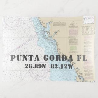 Punta Gorda FL Nautical Chart Latitude Longitude Trinket Trays