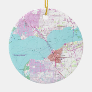 Punta Gorda & Port Charlotte Florida Map (1957) Ceramic Ornament