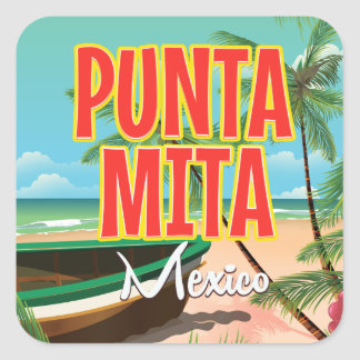 Punta Mita Mexican beach Travel poster. Square Sticker