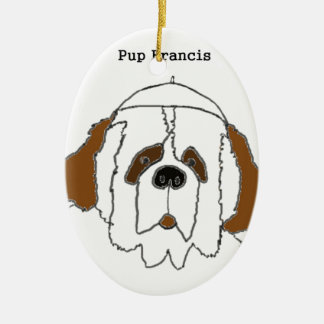 Pup Francis for Small Items Ceramic Ornament
