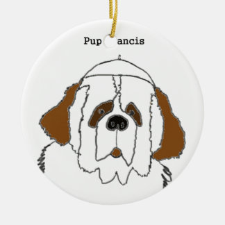 Pup Francis for Small Items Round Ceramic Decoration