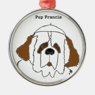 Pup Francis for Small Items Silver-Colored Round Decoration