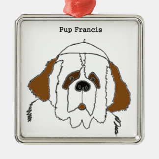 Pup Francis for Small Items Silver-Colored Square Decoration