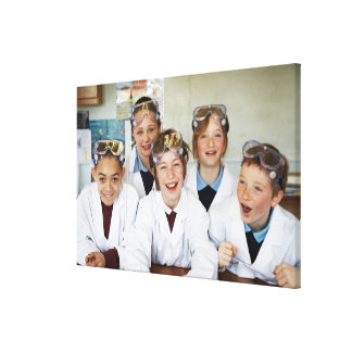 Pupils (9-12) in science class, smiling, canvas print