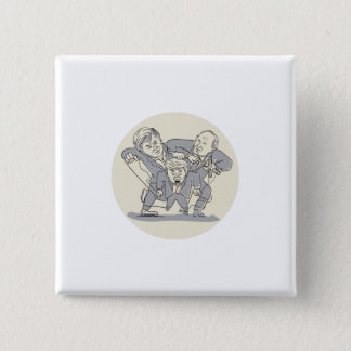 Puppeteers Fighting Over Puppet Oval Cartoon 15 Cm Square Badge