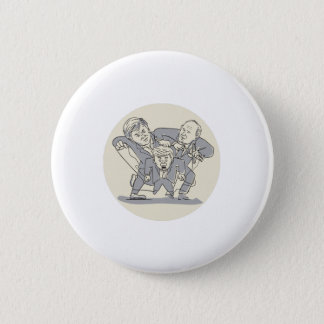 Puppeteers Fighting Over Puppet Oval Cartoon 6 Cm Round Badge
