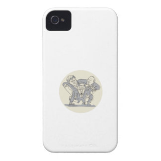 Puppeteers Fighting Over Puppet Oval Cartoon iPhone 4 Case