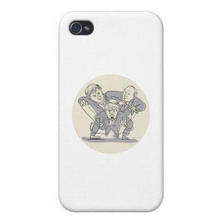 Puppeteers Fighting Over Puppet Oval Cartoon iPhone 4 Cases