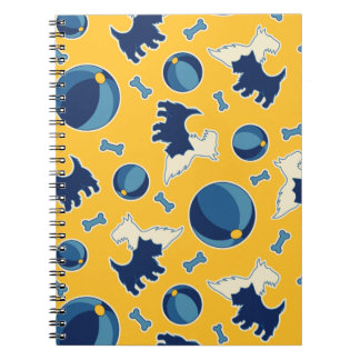 Puppies Balls and Bones Yellow and Blue Notebook