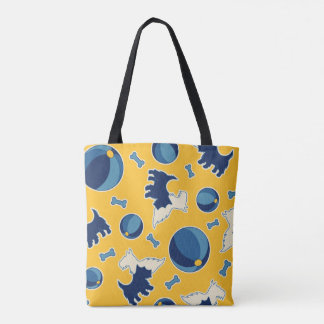 Puppies Balls and Bones Yellow and Blue Tote Bag